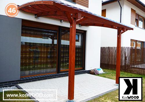 Zadaszenie tarasu PRAGA przyścienna (wym.standard.), TM 1809, Fastlock uni - przezroczysty, dach-łuk
